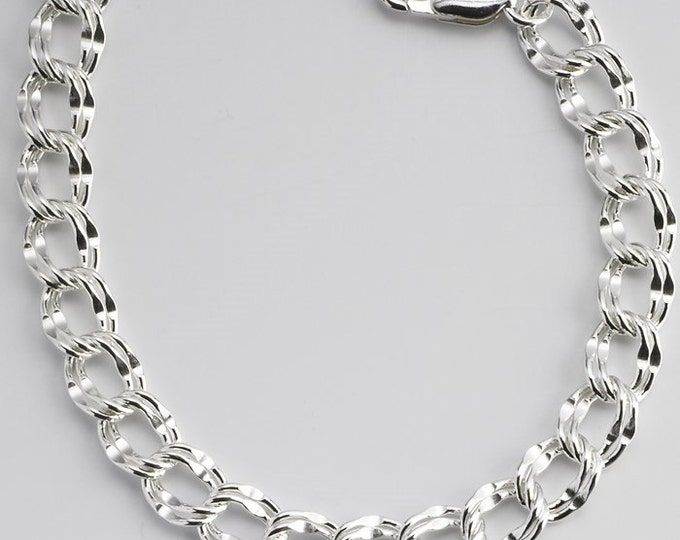 Sterling Silver 7mm Dapped Double-Cable Charm Bracelet