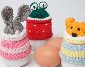 Egg cosy animals by Rupert's House - hand knitted in washable cotton yarn.