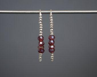 Mystic garnet earrings Birthstone earrings Open hoop earrings Dainty earrings Argentium earrings Silver earrings Faceted earrings Brown