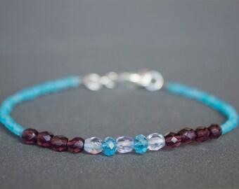 Glass bracelet Beaded bracelet Pastel bracelet Dainty bracelet Purple bracelet Lavender bracelet Friendship bracelet Delicate Blue bracelet