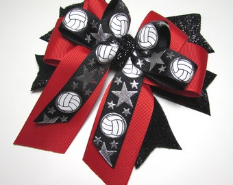 Volleyball Bow - Black Glitter Spikes with a Red Center Bow and topped with a Volleyball Bow of  Black and Silver Metallic Volleyballs