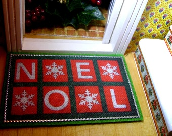 Christmas Doormat Miniature for Dollhouse 1:12 scale
