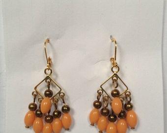 coral chandelier earrings