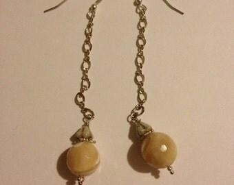 ivory stone dangling earrings
