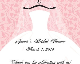 60 Pink Bridal Shower Favor Tags