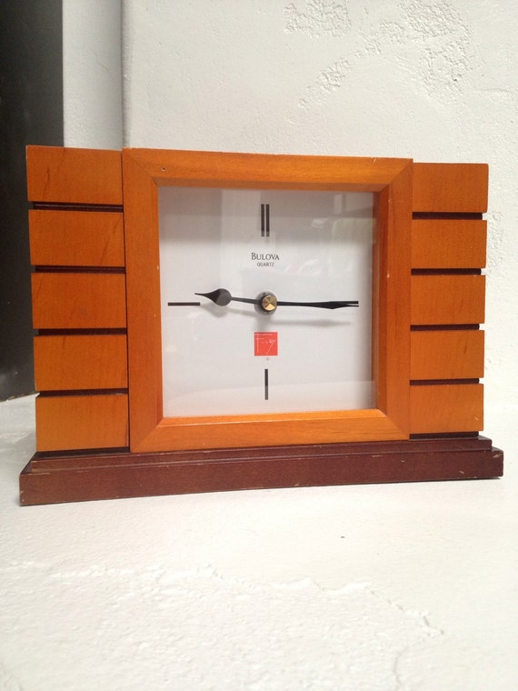 wooden bulova mantel clock frank lloyd wright collection. Black Bedroom Furniture Sets. Home Design Ideas