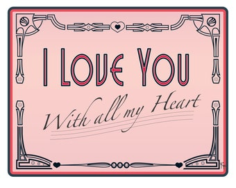 I Love You, Valentine, Anniversary Card, Love Card, Sweet, Art Deco, Rockabilly, Greeting Card, Blank Inside