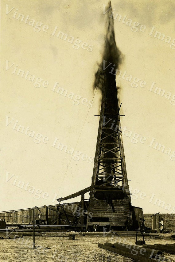 old oil well Photo drill drilling rig derrick gushing oil field sepia tone photo wall home decor Texas oil gusher Photo Vintage Photograph