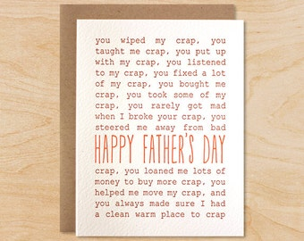 Crap Happy Father's Day Card - Funny Father's Day, Thank You Dad
