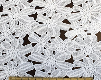 Matte Guipure Lace White Sunshine Floral Scallop Lace Fabric - Beatrix by the yard- 1 Yard Style 2425