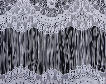Off White Embroidered Mia Pattern Nylon Lace Fabric For Dresses, Overlays, And More - Style 555
