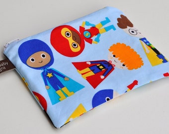 "Small 6"" x 4 1/2"" Zipper Reusable Snack Bag - Super Boy"