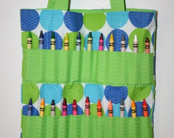 Blue and Green Polka Dot Crayon Bag