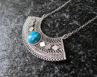 Turquoise silver necklace,Silver Necklace,Turquoise necklace,Yemenite jewelry, Israel jewelry,Ethnic necklace,Filigree necklace