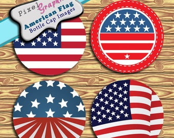 Scrapbook American Flag Bottle Cap Images Digital Collage Sheet 1 Inch Circles Elements