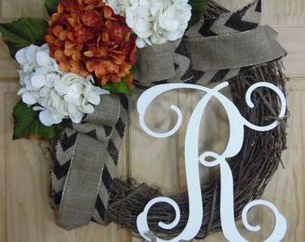 Spring wreath - grapevine wreath - hydrangea wreath - summer wreath - mothers day - wedding