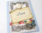 Elegant Valentine's Day Card - Shabby Chic - Love Card - Blank Card - Vintage Details - Pale Blue - Charming Details - Beaded Lace Hat Pin