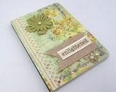 Enlightened Mini Journal - Mini Notebook - Shabby Chic Style - Floral Paper - Green and Yellow Notebook - Burlap Accent - Vintage Accents