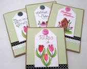 Spring Flowers Card Set - Set of 4 - Set of Four Note Cards - Blank Cards - Kraft Paper Cards - Blank Note Cards - Inspiring Message