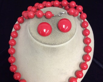 Vintage Red Beaded Necklace & Earring Set