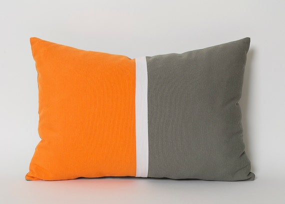 orange white gray lumbar pillow cover custom sizes sofa. Black Bedroom Furniture Sets. Home Design Ideas