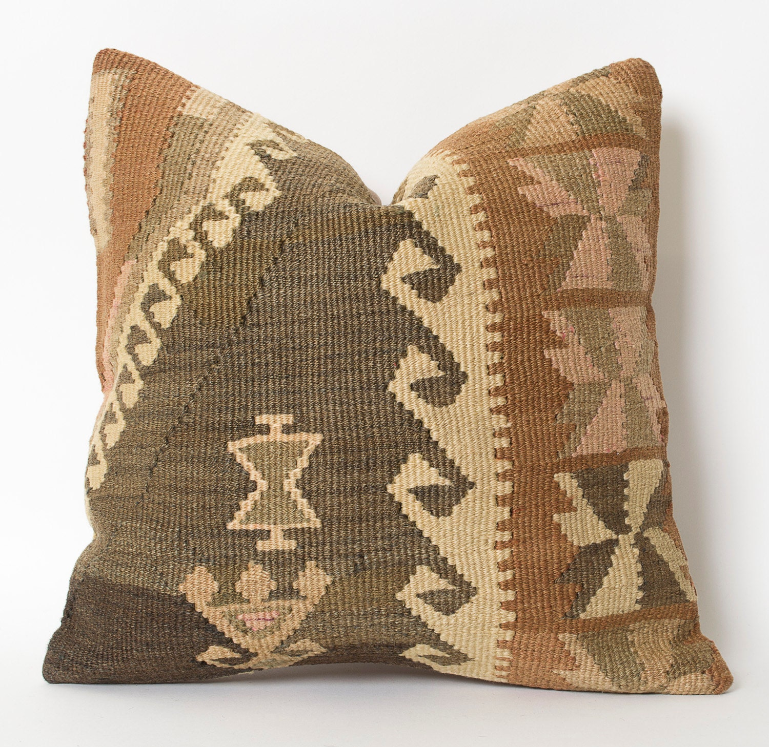 Decorative Pillows Kilim : Kilim Pillow Cover Patel Brown Decorative Kilim Pillows Wool