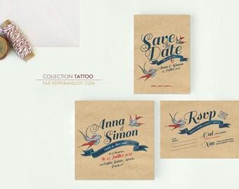 Personalised Tattoo wedding invitation. Vintage Rock n'roll Design on brown paper