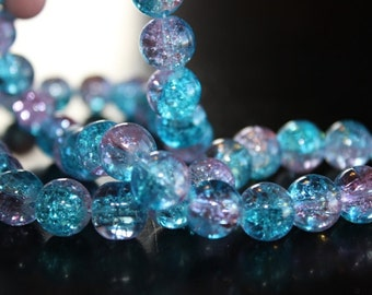 80 approx. light aqua and light pink, 10 mm crackle glass beads, 1.5mm hole
