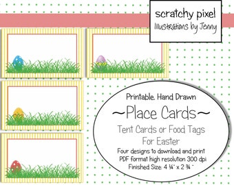 Easter Place Cards, Tent Cards,  or Food Tags ~ Blank, Hand Drawn, Download, Cut out, and Print
