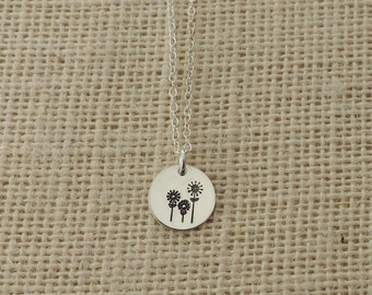 Sunflowers Sterling Silver Necklace, Sunflower Necklace, Dainty Necklace, Silver Flower Necklace, Spring Flower Necklace