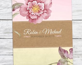 Purple Flowers Wedding Invitation Printable DIY