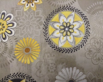 Felicity Collection from Wilmington Prints fabric by the yard large floral gold, white, black and gray on gray background