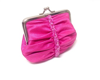Hot pink swarovski crystal beaded coin purse