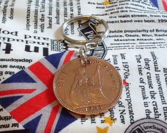1963 1d 1d Old Penny English Coin Keyring Key Chain Fob Queen Elizabeth II