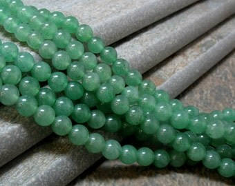 6 mm Green Aventurine Beads, 15.5 inch strand - Item 70816