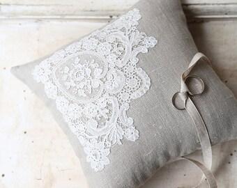 Wedding Bridal Ring Pillow Parisian Antique Handmade Lace + Linen | Wedding | Bride | Flower Girl | Page Boy | Vintage |