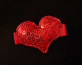 Valentine's Day Clip-Sequin Red Puffed Heart on alligator clip-Baby Clippie-Baby Clip