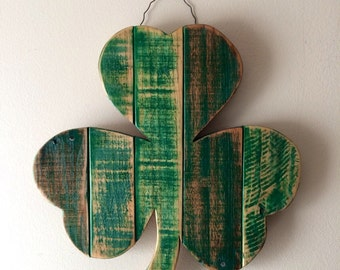 "2-3 WEEK WAIT // Rustic Shamrock 16""- reclaimed wood - St. Patrick's Day decoration - Irish Pride, lucky clover, pallet wood ,wall hanging"