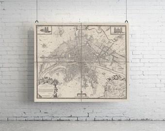 "62"" x 50"" - 4 Panelled Map of Paris, Large Vintage Print"