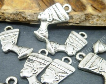 BULK - Silver Egyptian Queen Nefertiti Charms - Jewelry Making Findings Lot - Set of 40 pc - MC002