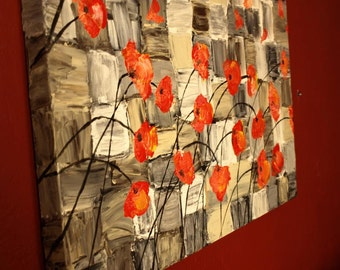 Free Shipping - LARGE Poppies painting