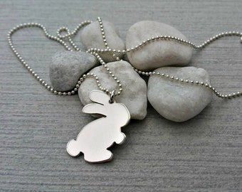 Handcut sterling silver bunny rabbit pendant