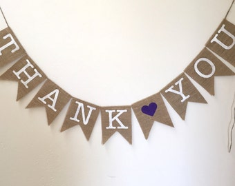 Thank You Burlap Banner for weddings and events