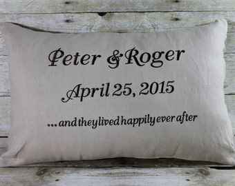 Pillow Wedding Gift  And They Lived Happily Ever After... with Your Date and Names Embroidered  Pillow and Pillow Insert