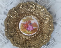 Rococo Gilt Brass Porcelain Wall Plaque Fragonard Courting Couples French Vintage