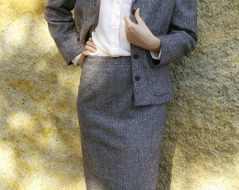 Skirt Blazer Suit Twill Wool Blend Skirt French Vintage 1990s