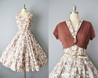 50s Dress // 1950s Brown & White Fruit Print Party Dress + Linen Bolero Jacket // Medium