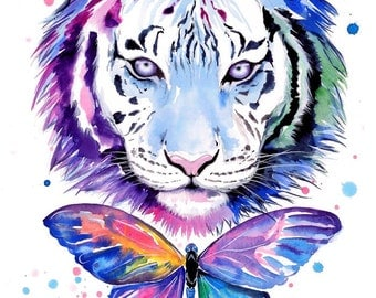Tigers and butterflies - signed Art Print