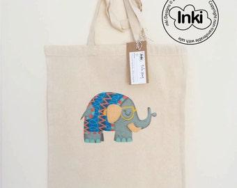 Cotton Tote Bag Elephant Illustration - Custom Name Personalised Canvas Cotton Tote Bag - Write Any Name