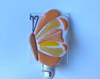 Fused Glass, Orange, Butterfly, Night Light, Nightlight, Nite Lite